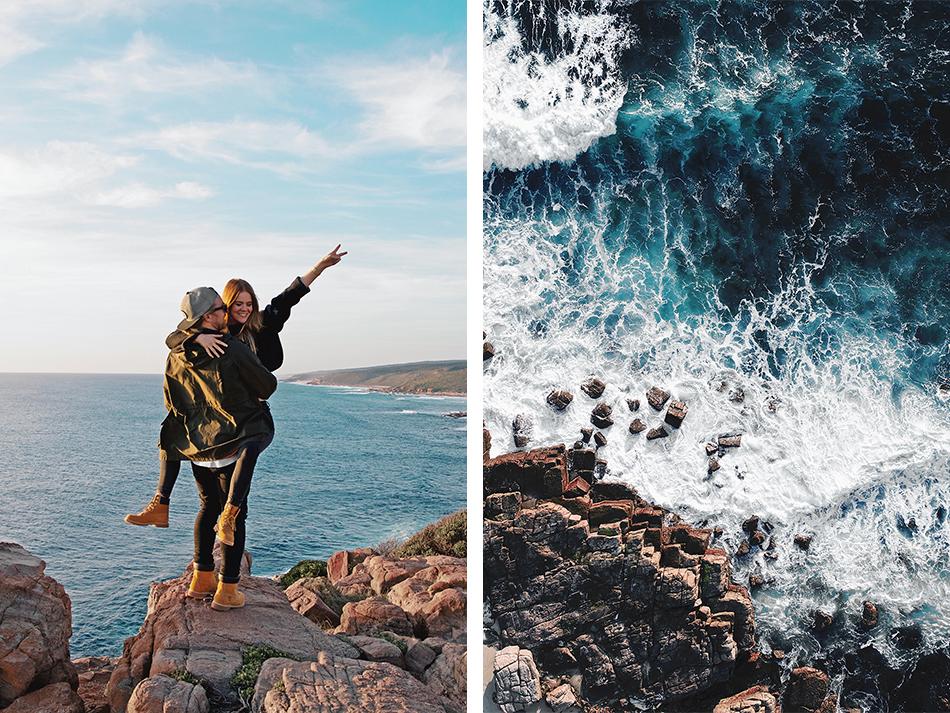 Wilyabrup Sea Cliffs, couple goals, photographers, drone shot