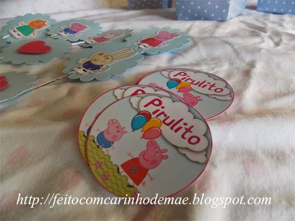 adesivo personalizado para pirulito festa Peppa Pig