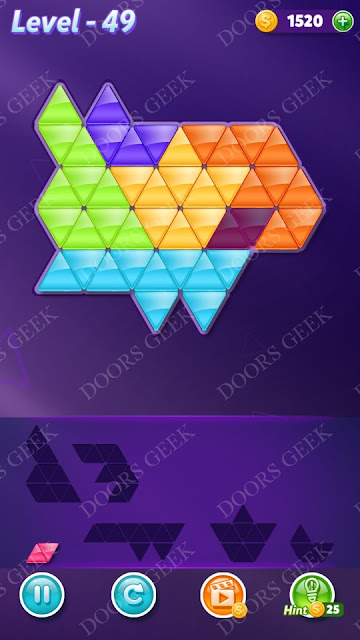 Block! Triangle Puzzle Intermediate Level 49 Solution, Cheats, Walkthrough for Android, iPhone, iPad and iPod