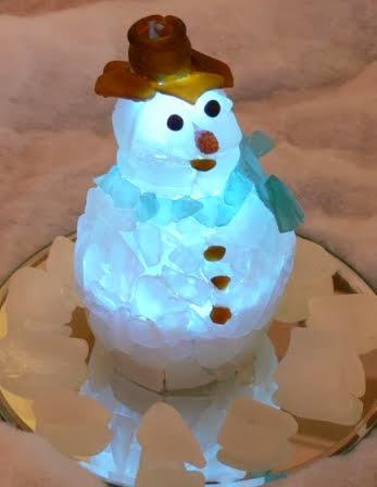 seaglass snowman