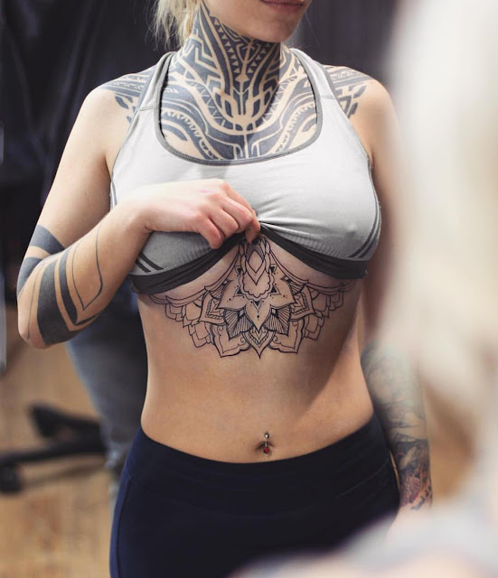 Awesome Chest & Under Boob Tattoos