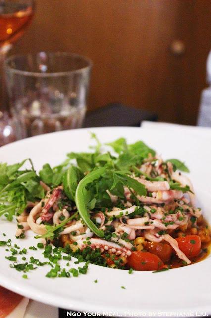 Calamari With Parsley, Ginger & Sesame; Sardinian Fregola With Cherry Tomatoes at Juveniles in Paris