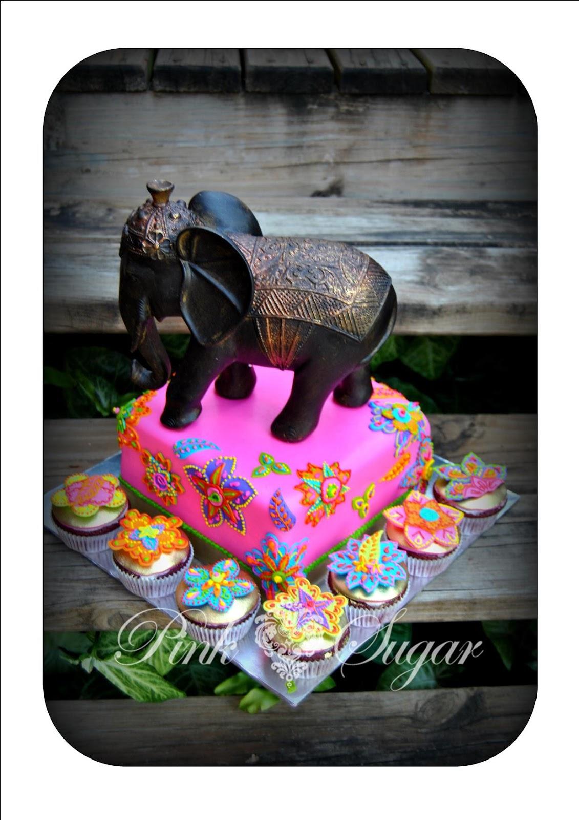 Pink Sugar Bollywood Themed Birthday Elephant Non Edible
