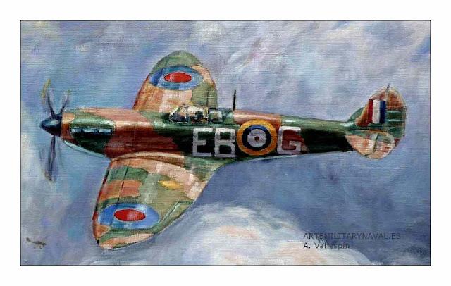 Pintura al oleo de un avion spitfire  Segunda Guerra Mundial