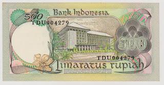 500 Rupiah Bunga Anggrek Tahun 1977 Belakang