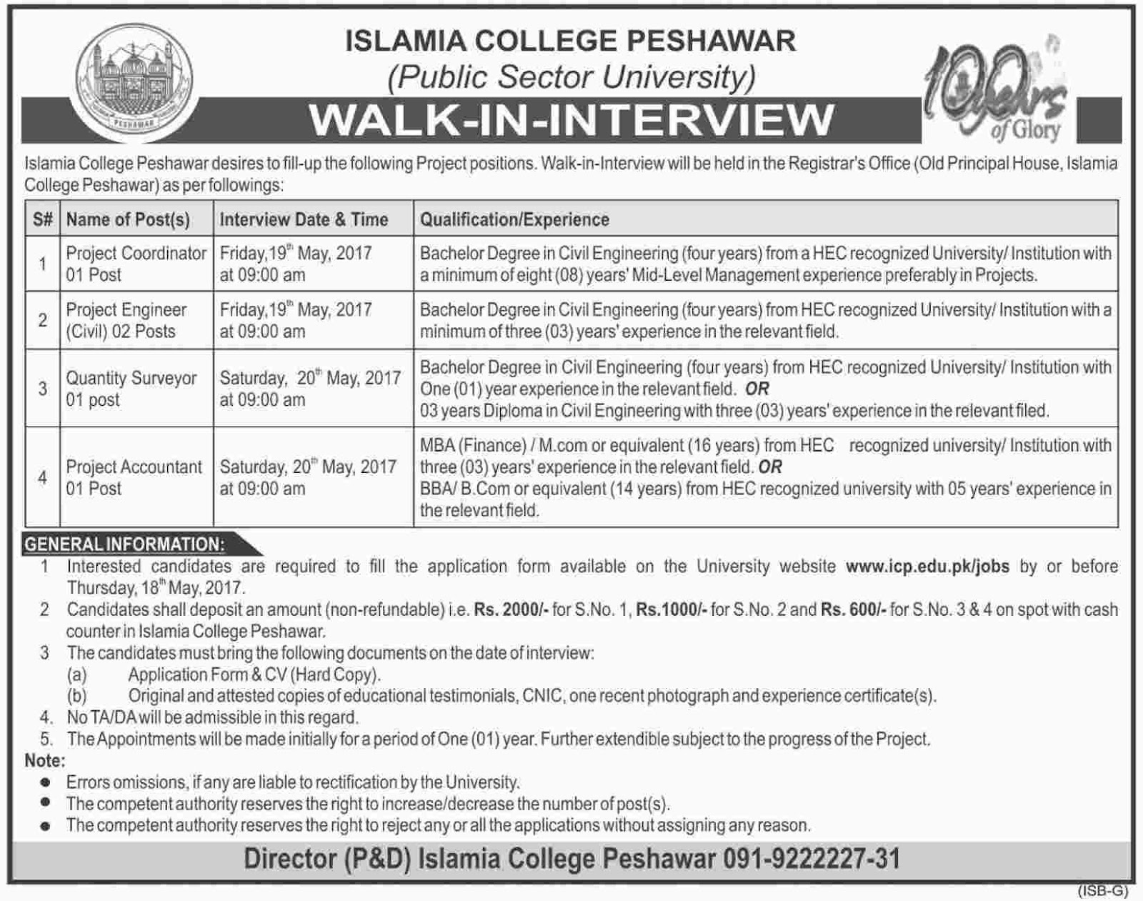 jobs in Islamia College Peshawar  May 15 2017