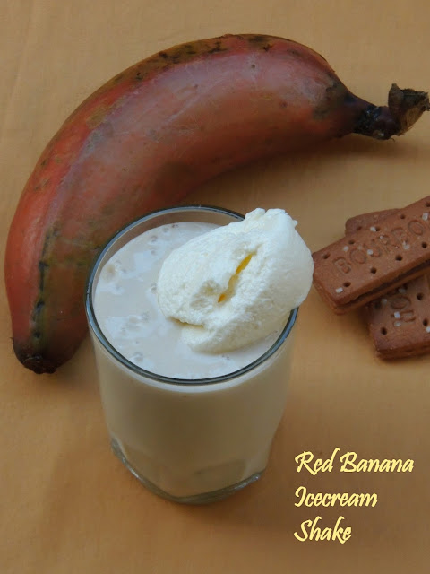 Red banana Shake, Chilled red banana icecream shake