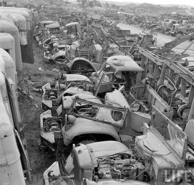 Jeep Graveyard On The Island Of Okinawa Japan In 1949