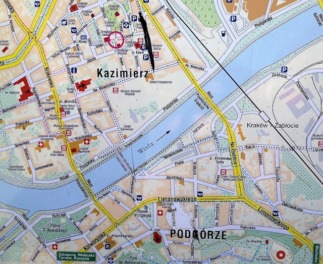mapa del barrio judío de Cracovia