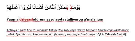 Contoh Bacaan Idgham Bighunnah Surat Al-Zalzalah ayat 6