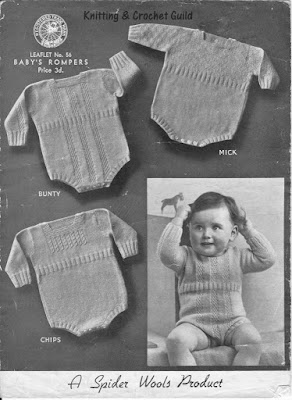 1930s vintage knitting pattern; toddler's rompers