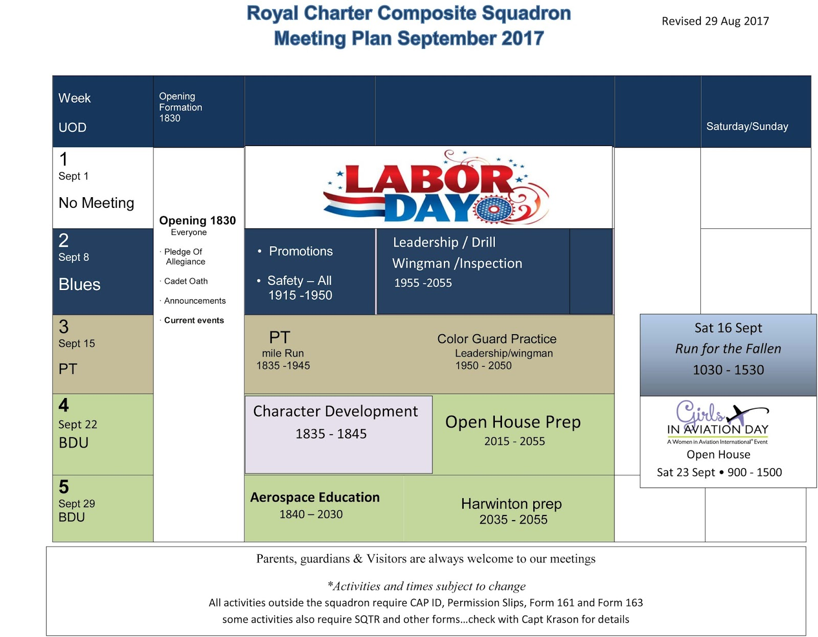 Royal Charter Composite Squadron Monthly Squadron Meeting Plan