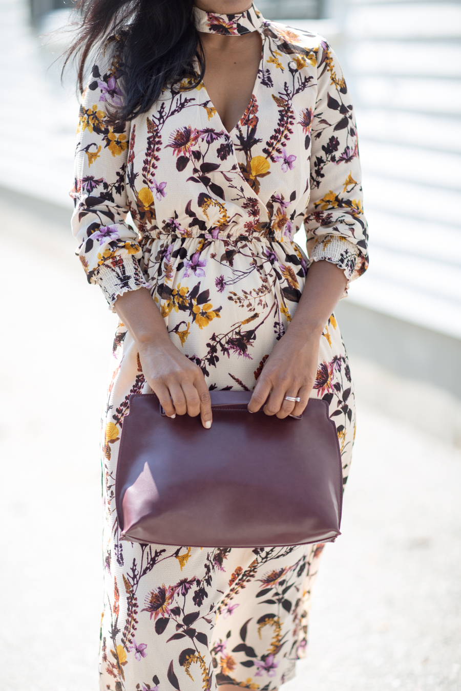 style tips, personal style, work wardrobe, work outfits, office style, wardrobe stylist, florals, pre-fall style, nude pumps, choker neck, corporate chic