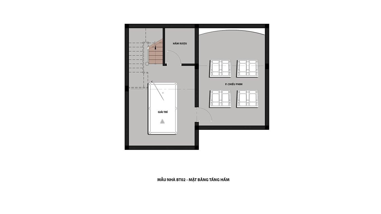 Tầng hầm biệt thự Hateco 5 Xuân Phương
