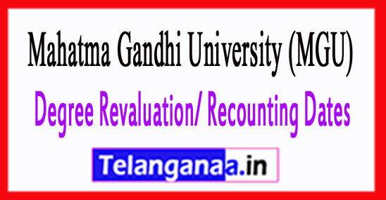 MGU Degree Revaluation/ Recounting Dates 2018