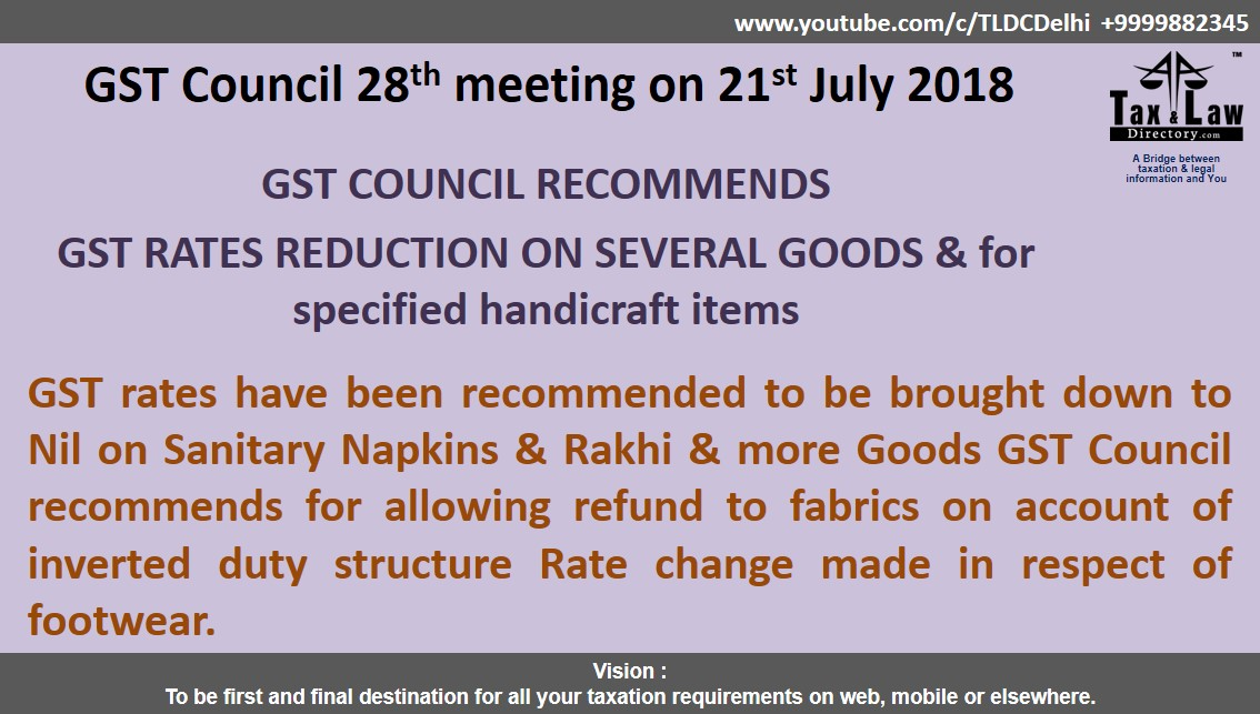 Tax And Law Directory Gst Rates Reduction Several Goods For