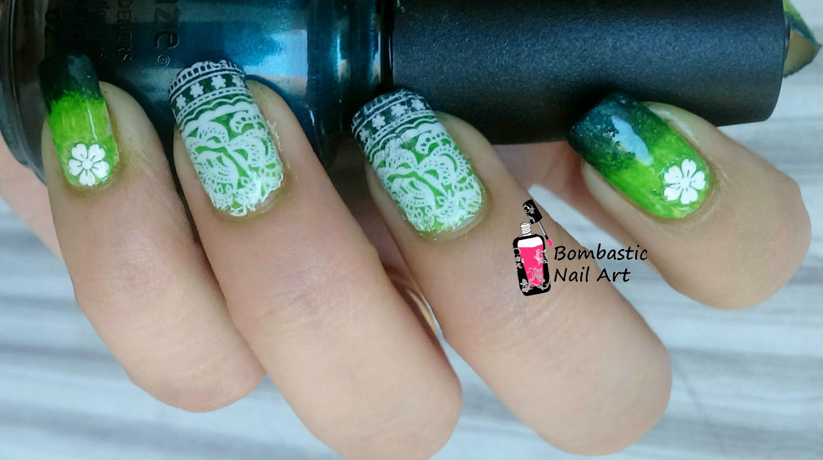 Green Ombre With Full Nail Water Slide Decal Nail Art Bombastic Nail Art