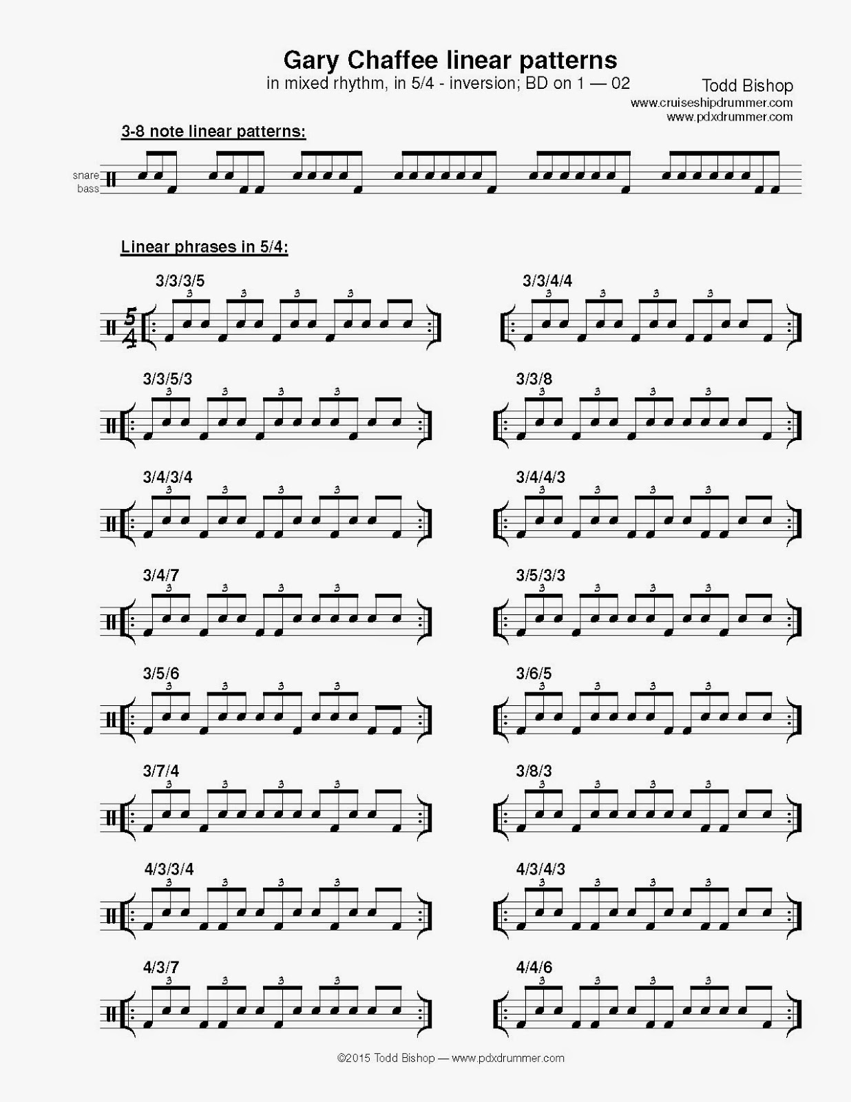Cruise Ship Drummer Linear Phrases In 5 4 Mixed Rhythm
