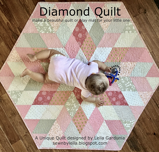 Baby Diamond Quilt Free Tutorial designed by Leila Gardunia of Sewn By Leila