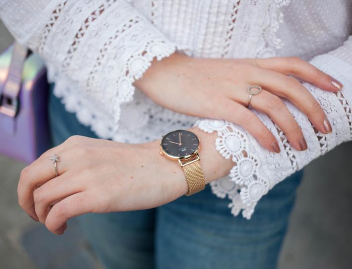 rosegold mesh daniel wellington, diamanti per tutti rings