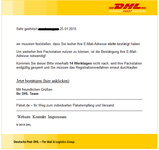 phishing mail alerts dhl wichtig best tigung erforderlich. Black Bedroom Furniture Sets. Home Design Ideas
