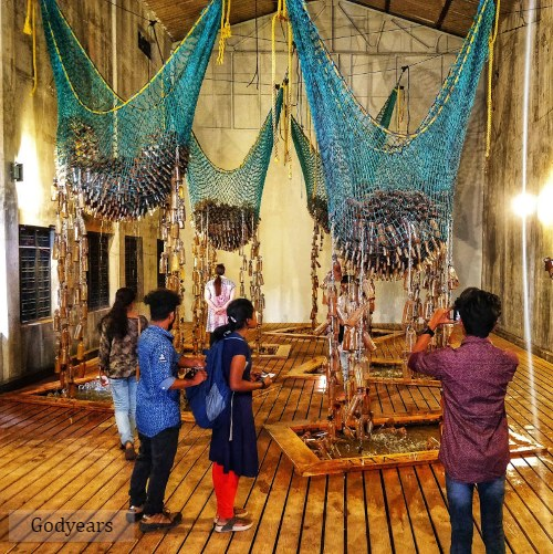 Exhibit by artist Sue Williamson at Kochi Muniziris Biennale, the world's longest duration contemporary art festival, depicting slavery