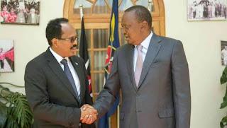 President Farmajo (Abdullahi) and his Kenyan counterpart Uhuru Kenyatta