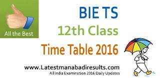 BIE Telangana Intermediate 1st year Time Table 2016, TS Inter Time table 2016, TS Inter 1st, 2nd Year Time Table Download