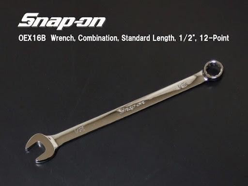 Snap-onスナップオンOEX16Bコンビネーションレンチ。1/2インチサイズのスナップオンの最もスタンダードなコンビネーションレンチです。世界で一番売れているサイズでは無いでしょうか?