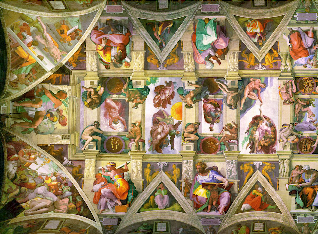 Close up of the Sistine Ceiling showing 'Creation.' Photo: WikiMedia.org.