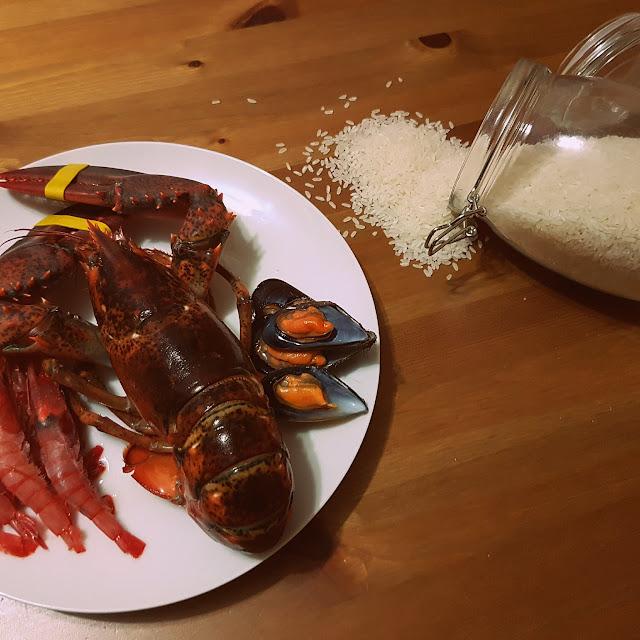 Arroz con bogavante y mariscos