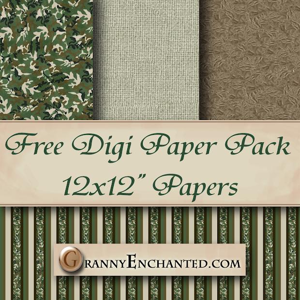 Granny Enchanted' Free Green Camo Digi Scrapbook