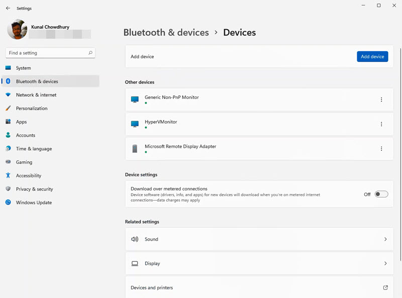 A quick look to Windows 11 Settings app - Bluetooth & devices - Devices