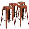 Flash Furniture High Backless Distressed Metal Indoor Barstool (4 Pack), Orange