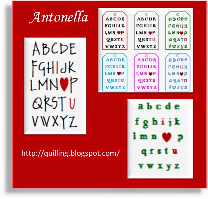 Free I Love You Eye Chart for Valentine's Day from Antonella at www.quilling.blogspot.com