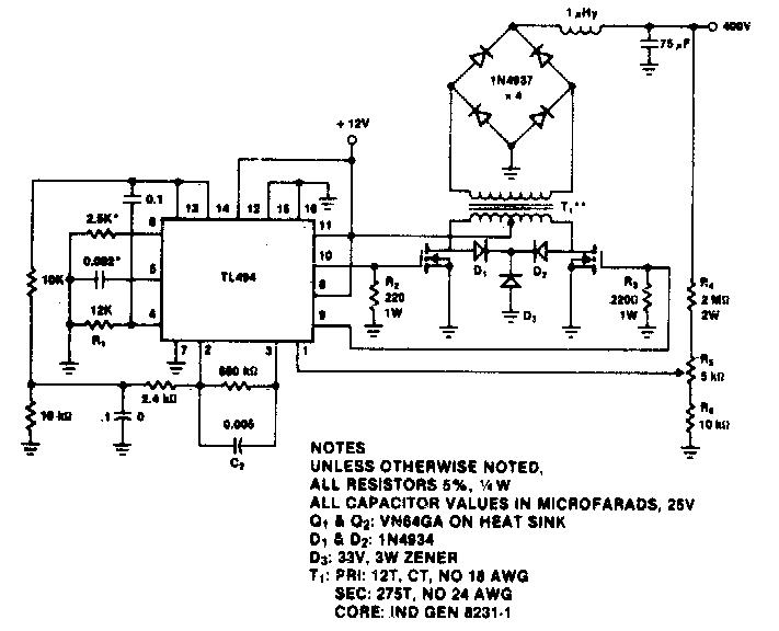 400V-60W Push-Pull DC-DC Converter Circuit Diagram
