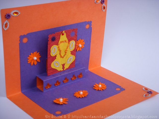 Cards Crafts Kids Projects Pop Up Card Pedestal Lord Ganesha Card