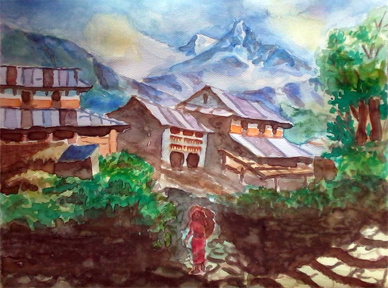 Rural Scene of Nepal in Watercolor Painting