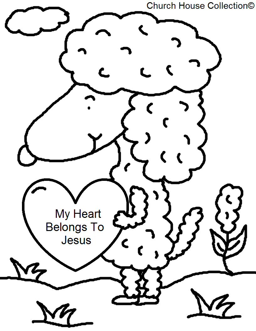 printable religious valentine coloring pages - church house collection blog sheep my heart belongs to