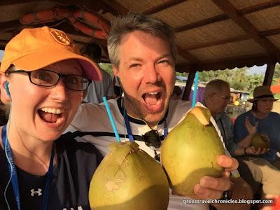 Aaron and Liz enjoying fresh coconut milk