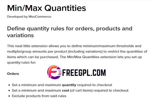 WooCommerce Min/Max Quantities Free Download
