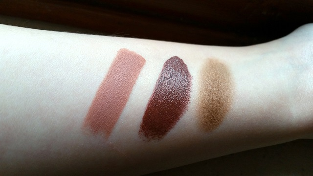 H&M Beauty swatches lipstick so cocoa, lip colour-to-go chocs away, high impact eye colour candied almond, VERONIQUE TRES JOLIE