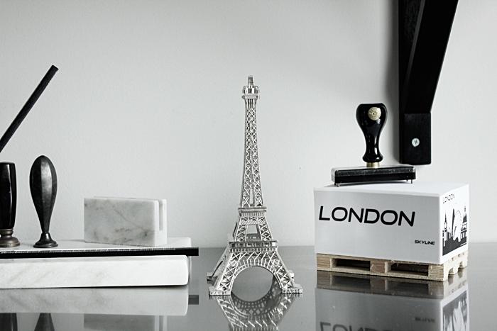 eiffeltorn i inredningen, eiffeltornet dekoration, memoblock på lastpall, london, svart och vitt, webbutik, webbutiker, webshop, inredning, anelies design,