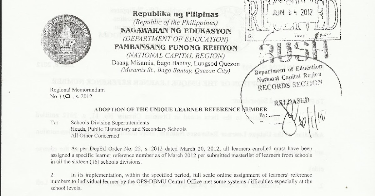 Department of Education Manila: Regional Memo 119 s.2012
