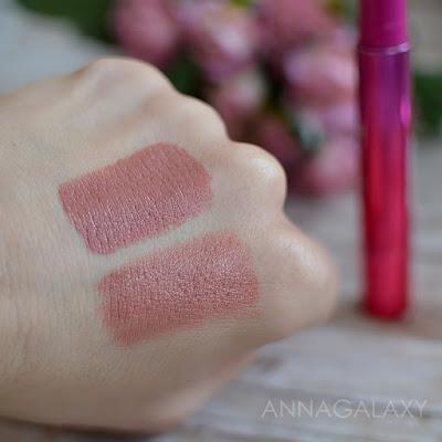 Сравнительные свотчи Faberlic Berry Kiss губная помада 40604 ягодная фантазия