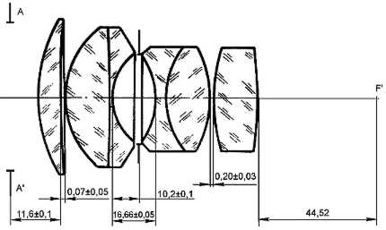 Оптическая схема объектива Biotar 75mm f/1.4