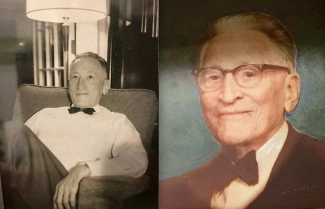 two photos of William DeHaven over the years, wearing a bow tie