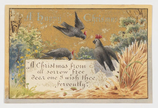 """Christmas Card design depicting an Australian bush scene and black cockatoos with the words """"A Happy Christmas""""."""