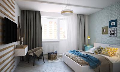 phối cảnh phòng ngủ chung cư mini đường láng