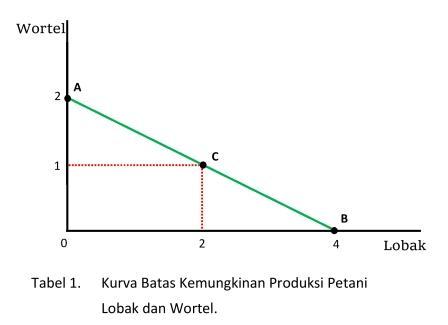Kurva Batas Kemungkinan Produksi - Petani Lobak dan Wortel